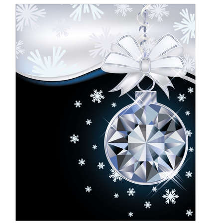 New Year card with diamond christmas ball, vector illustration Vector