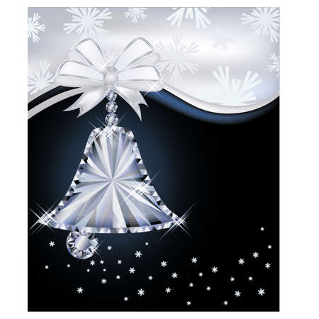 Diamond Christmas bell greeting card, vector illustration Vector
