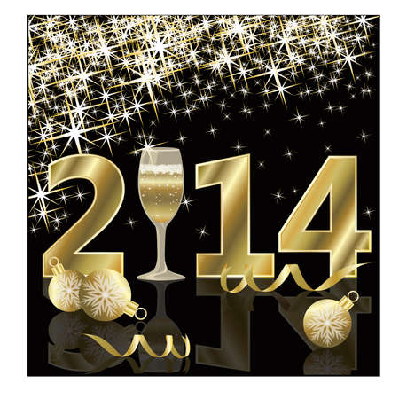 Happy New 2014 year card with champagne illustration Stock Vector - 24628463