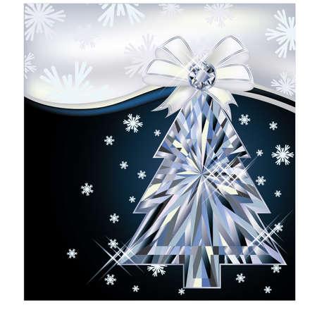 Diamond Christmas tree card with bow illustration  Vector