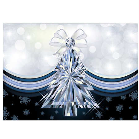 Diamond Christmas tree banner illustration  Vector