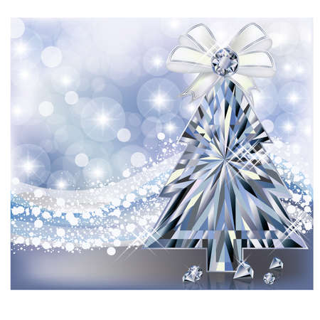 Diamond Christmas tree invitation card, vector illustration Vector