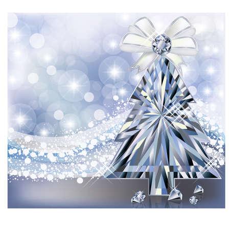 Diamond Christmas tree invitation card, vector illustration Stock Vector - 24751406