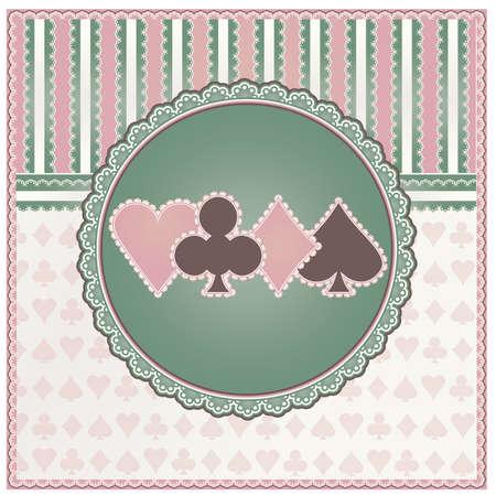 Vintage casino background with poker elements, vector illustration