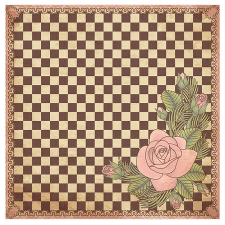rosa: Vintage chess board with rose, vector illustration