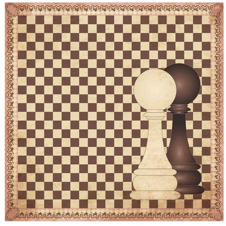chessboard: Vintage chess background, vector illustration Illustration