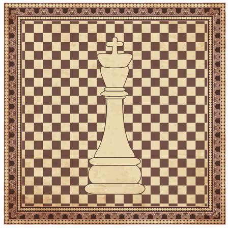 Vintage chess king background, vector illustration Vector