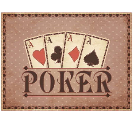 wager: Vintage casino background with poker cards, vector illustration
