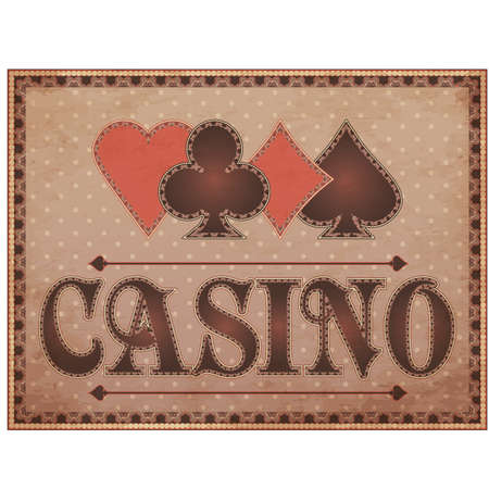 Casino vintage banner with poker elements, vector illustration Vector