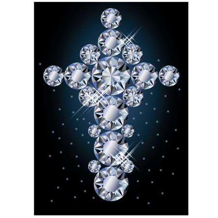 brilliancy: Diamond cross, greeting card, vector illustration