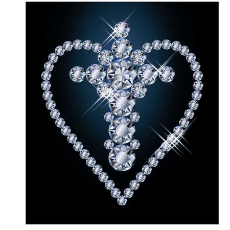 Diamonds cross and heart, vector illustration Vector