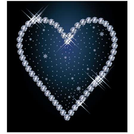 Diamond heart, vector illustration