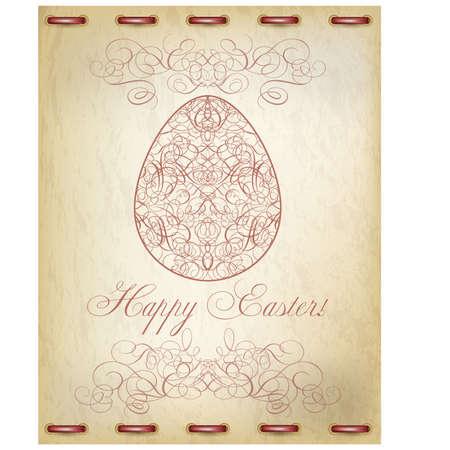 egg roll: Happy Easter old card illustration
