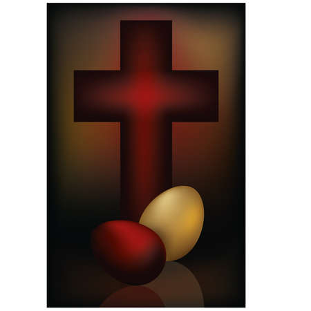 Easter card with cross and two eggs Vector