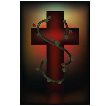 orthodoxy: Christian cross  Easter card  vector illustration