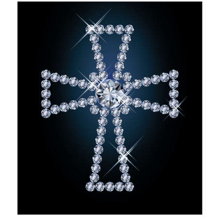Diamond religious cross, vector illustration  Vector