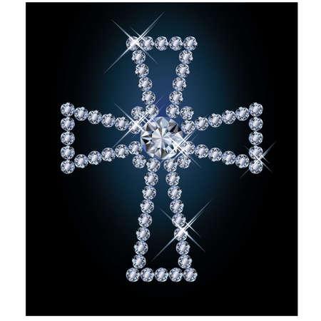 Diamond religious cross, vector illustration