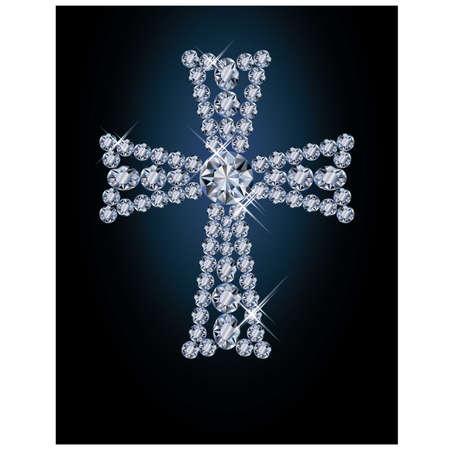 Diamond Easter cross, vector illustration