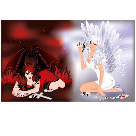 Devil and angel girls playing poker, vector illustration