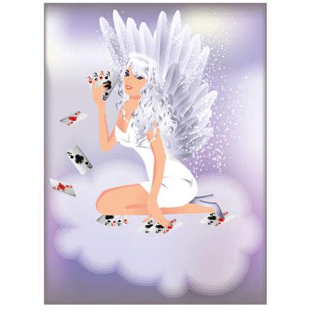 bluff: Angelo sexy ragazza e carte da poker, illustrazione vettoriale