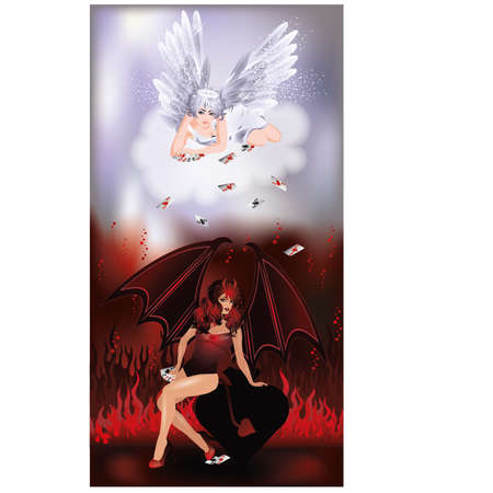 heaven and hell: Angel and Devil playing poker, vector illustration