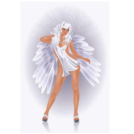 Sexy Angel woman, vector illustration Vector
