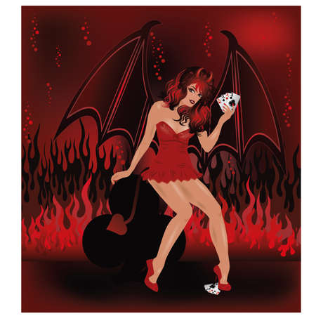 sexy devil: Sexual devil girl with poker cards, vector illustration