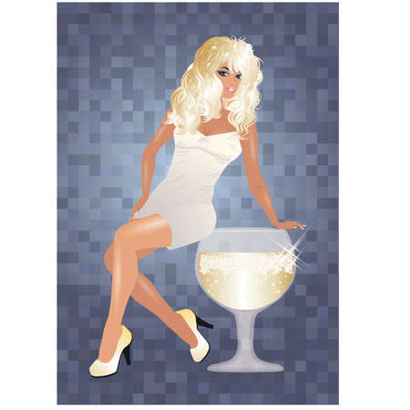 sexy birthday: Sexy blonde girl and wine glass, vector illustration