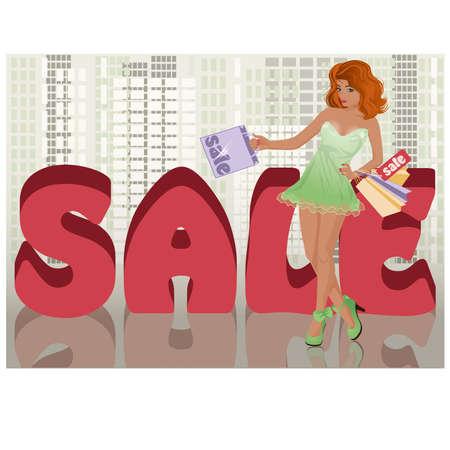 fashion shopping: Shopping girl in city, vector illustration