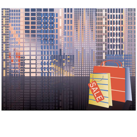 Shopping in city, vector illustration Vector