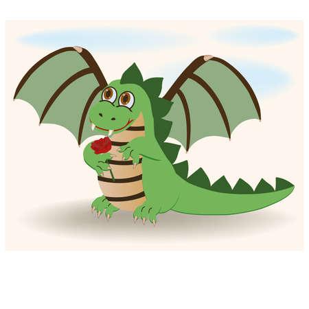 Cute baby dragon with rosa, vector illustration Vector