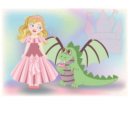 saint george: Cute little princess and dragon, Happy Saint George  vector illustration