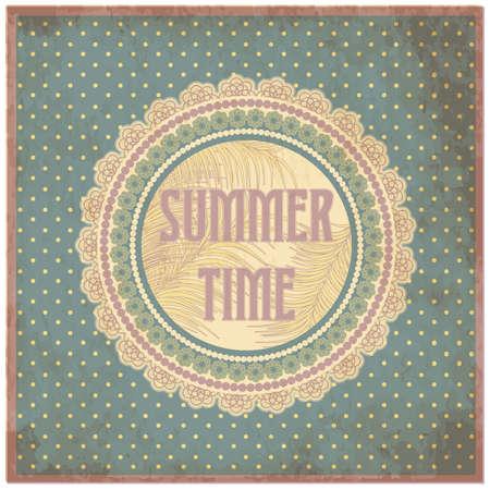 Summer time card in vintage style, vector illustration