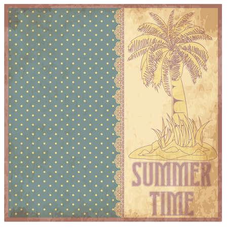 Summer time scrapbooking background in vintage style, vector illustration