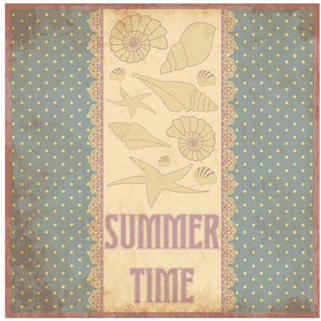Summer time scrap card in vintage style , vector