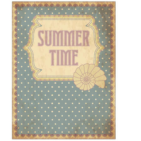 Summer time card with shell, vector illustration Illustration