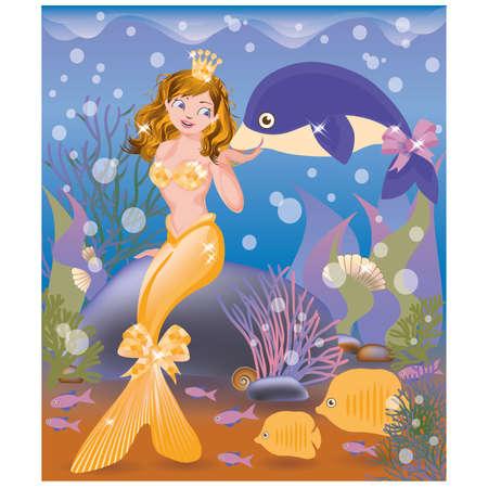 animalitos tiernos: Hermosa niña sirena y el delfín de oro, ilustración vectorial