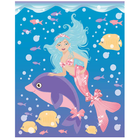 Little mermaid girl and dolphin, vector illustration Illustration