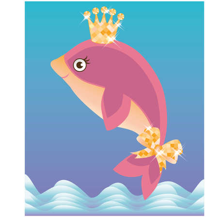 crown tail: Beautiful little dolphin, vector illustration
