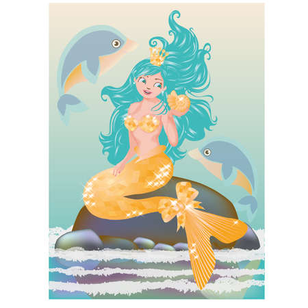 little girl beach: Young mermaid with golden seashell, vector illustration