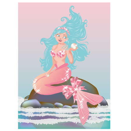 Young mermaid with pearl, vector illustration