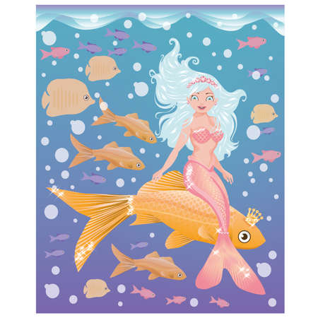 crown tail: Young mermaid girl with golden fish, vector  Illustration