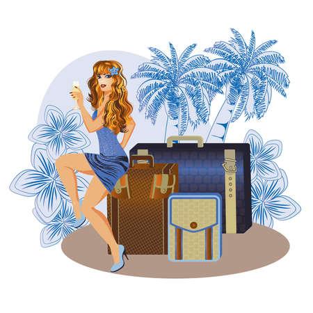 sexy bikini girl: Summer  travel girl with wineglass, vector illustration Illustration