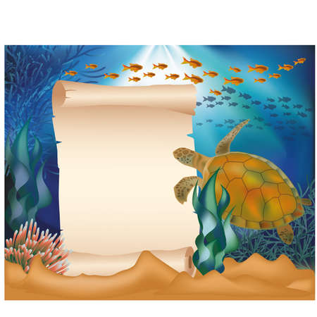 Underwater card with turtle and old paper scroll Vector