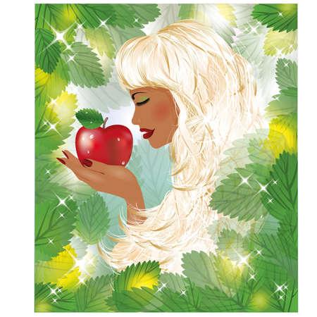 adam eve: Eva and red apple