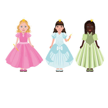 american stories: Three little girls or princesses