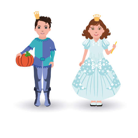 cinderella pumpkin: Little Cinderella princess and prince with pumpkin, vector illustration Illustration