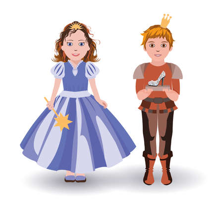 Little Cinderella princess and prince with glass slipper Illustration