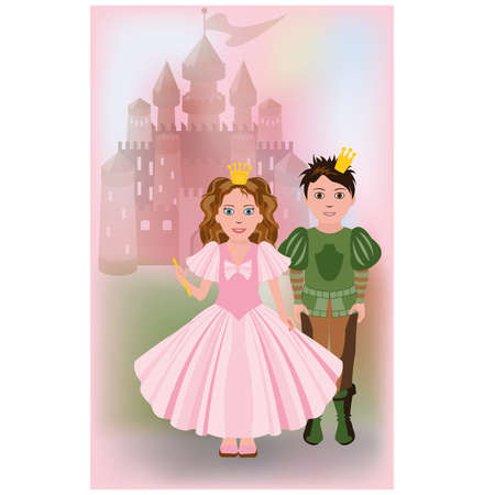 cinderella shoes: Cute little princess with prince, vector illustration Illustration