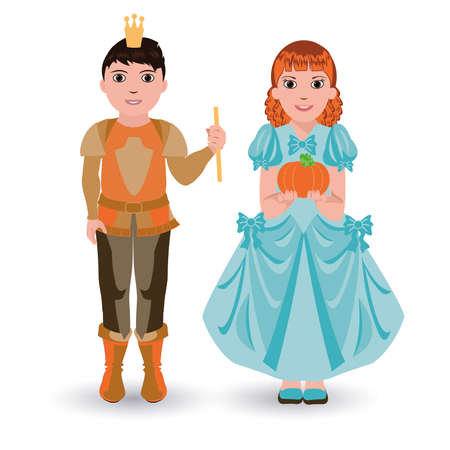 cinderella pumpkin: Cinderella princess with pumpkin and little prince with pumpkin